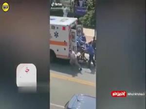 صحنه عجیب فرار یک مرد از روی برانکارد اورژانس!
