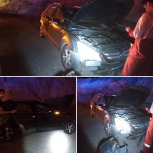 تصادف خودروی سواری با کوه در دامغان