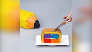 تزئین کیک به شکل مداد