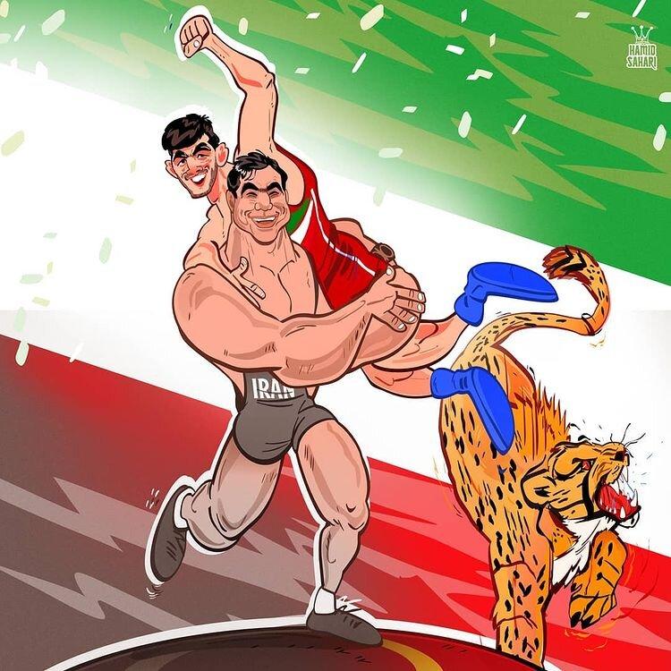 کاریکاتور/ حسن یزدانی در آغوش تختی!