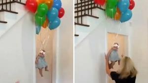 صحنه عجیب به پرواز درآمدن کودک توسط بادکنک!
