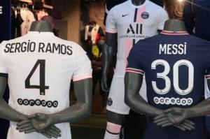 پیراهن جدید مسی و راموس کنار هم در فروشگاه