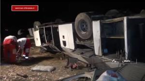 راننده، مقصر حادثه واژگونی اتوبوس در دامغان