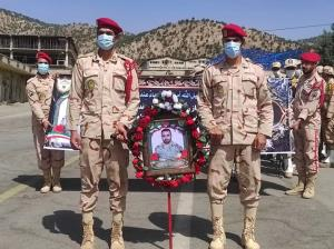 پیکر مرزبان شهید در بانه تشییع شد