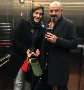 چهرهها/ سلفی حسن معجونی با همسرش در آسانسور