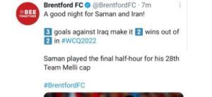 تمجید تیم انگلیسی از بازی ایران مقابل عراق