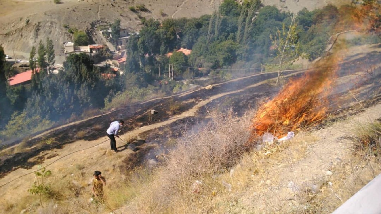 آتشسوزي مراتع در جاده کرج ـ چالوس