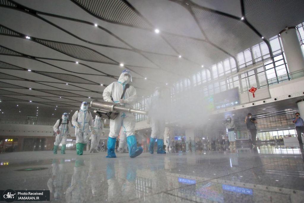 ضدعفونی ایستگاه قطار در یانگژ چین