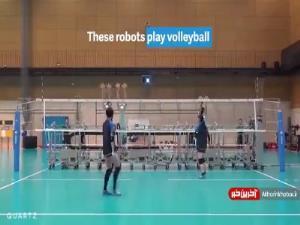 تمرین والیبالیست های ژاپنی با ربات!
