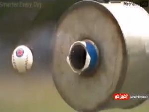 شلیک توپ بیسبال با سرعت
