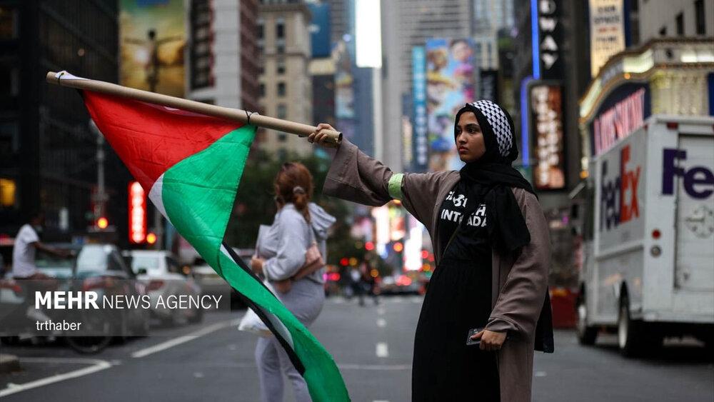 تظاهرات حمایت از فلسطینیان در نیویورک