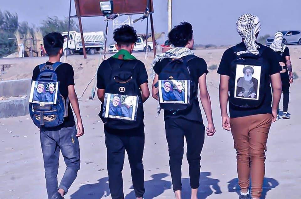 عکس/ پياده روي اربعيني جوانان عراقي به نيابت از فرماندهان مقاومت