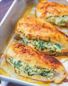 طرز تهیه خوراک سینه مرغ شکم پر با پنیر