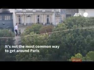 ثبت شاهکار تاریخی با طناب بازی روی پاریس