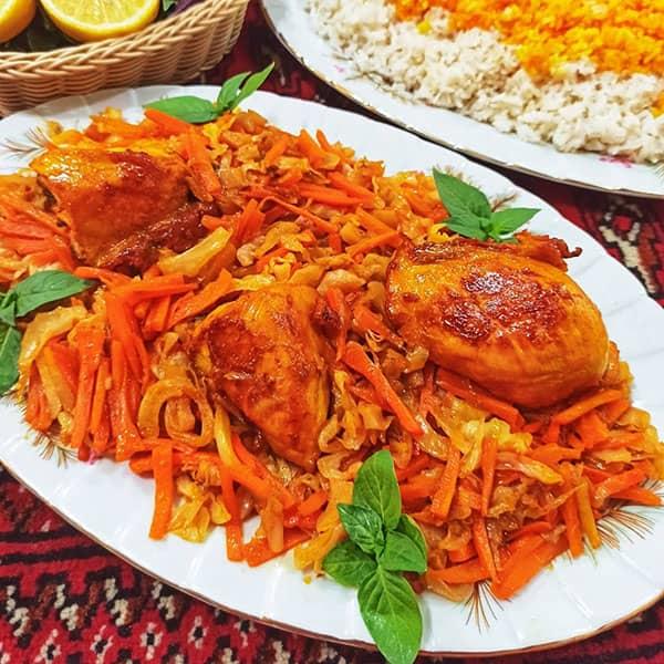 طرز تهیه خورش کلم برگ خوشمزه و مخصوص شیرازی با مرغ
