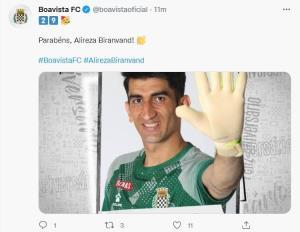 تبریک تولد 29 سالگی علیرضا بیرانوند توسط باشگاه بواویشتا پرتغال