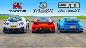 درگ هوندا NSX، نیسان GT-R نیسمو و پورشه ۹۱۱ توربو S