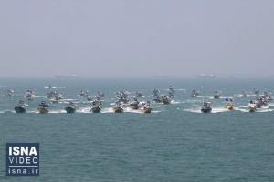رژه شناوری بسیج دریایی سپاه در خلیج فارس