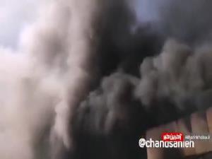 آتش سوزی گسترده در یک گاراژ