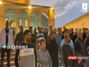 سردادن شعارهایی برای حمایت از قدس در مسجد الاقصی