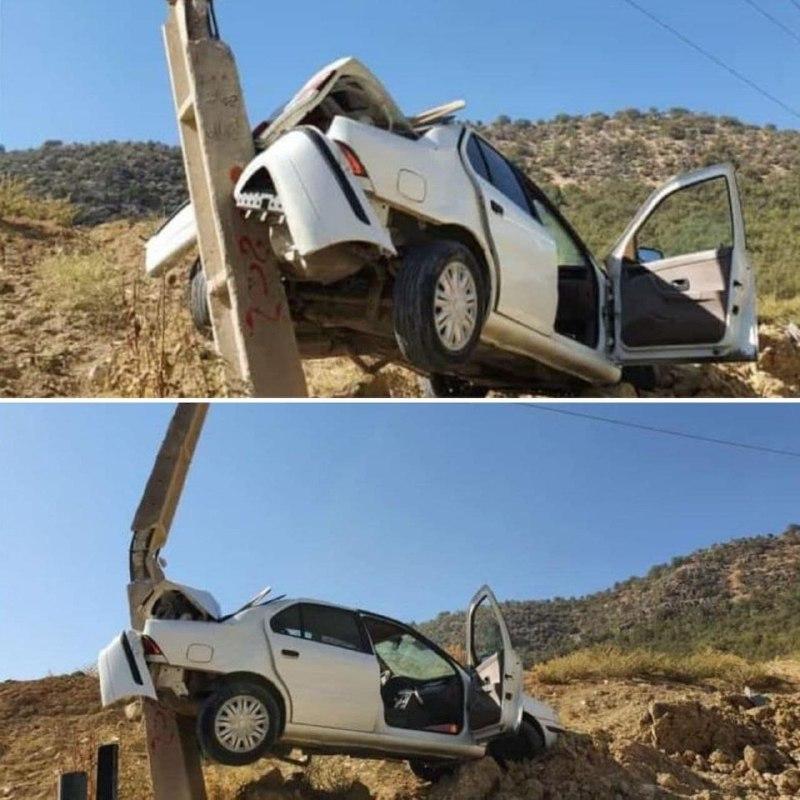 عکس/ برخورد عجیب یک دستگاه خودرو با پایه برق در یاسوج