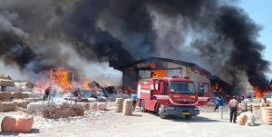 کارخانه الیاف پنبه نطنز دچار آتشسوزی شد