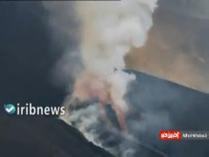 فوران کوه آتشفشان در لاپالما اسپانیا