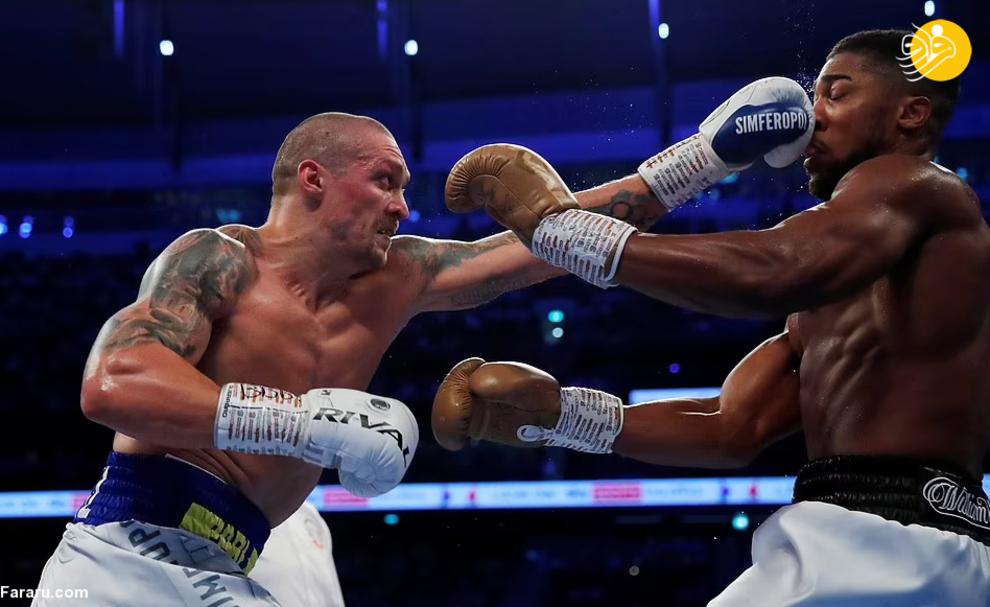 عکس/ شکست قهرمان سنگین وزن بوکس جهان در مقابل حریف اوکراینی