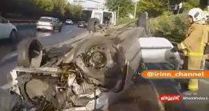 واژگونی خودروی ۲۰۶ در بزرگراه شهید حقانی