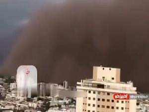 سیاه شدن آسمان سائو پائولو بر اثر طوفانی از گرد و خاک