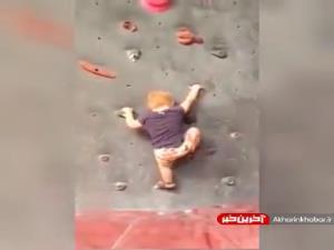 حیرت کاربران از مهارت یک کودک در سنگ نوردی