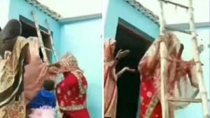 فرار عروس عصبانی از روی نردبان!