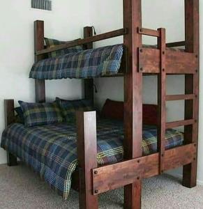 تخت دو طبقه تمام چوب
