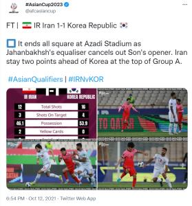 واکنش AFC به تساوی تیم ملی کشورمان و کره جنوبی