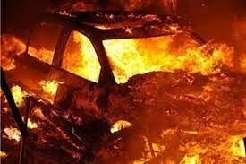 آتشسوزی یک دستگاه پژو آردی در زنجان