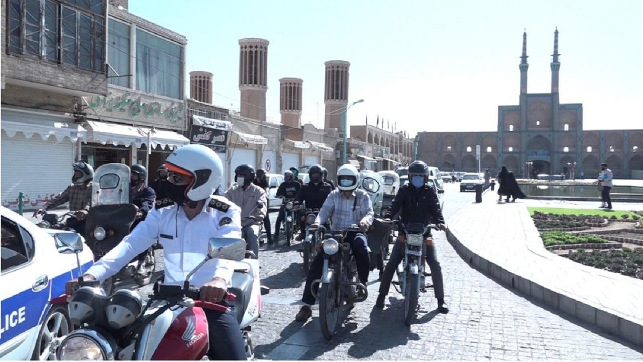 رزمایش شهری موتورسیکلتسواران قانونمند در یزد