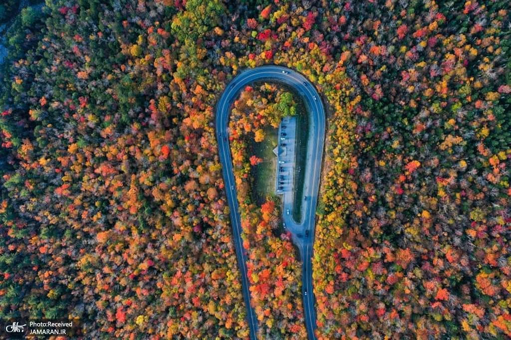 نمای هوایی از جاده زیبای پاییزی در ایالات متحده