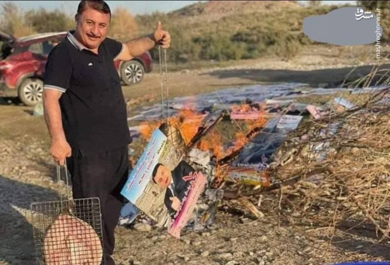 کاندیدای شکستخورده عراق پوسترها را کباب کرد!