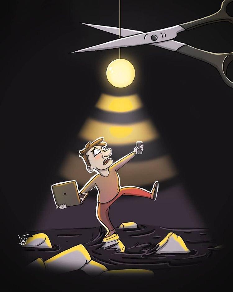 کاریکاتور/ لطفا چراغ اینترنت رو خاموش نکنید!