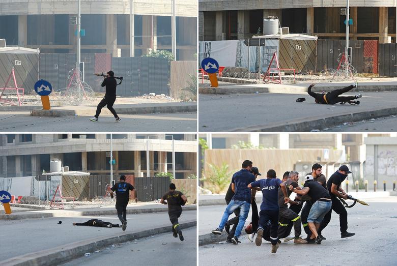 صحنه ای از درگیری های مسلحانه در بیروت