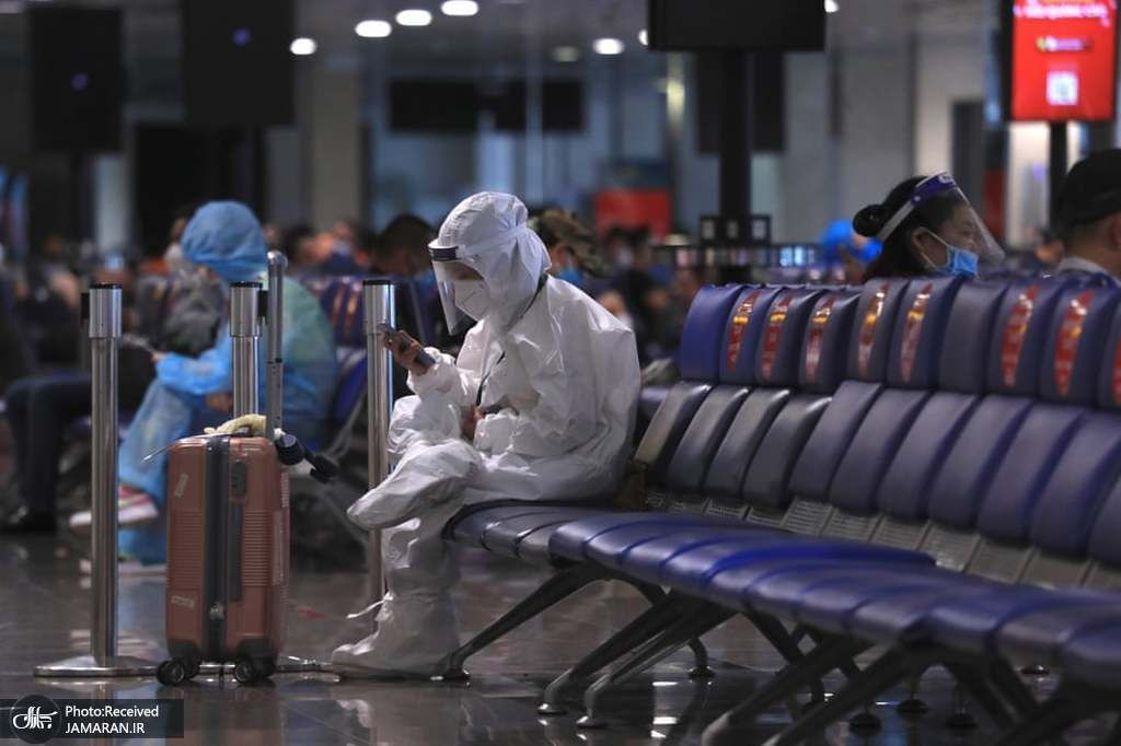 پوشش متفاوت ضد کرونایی مسافر هواپیما