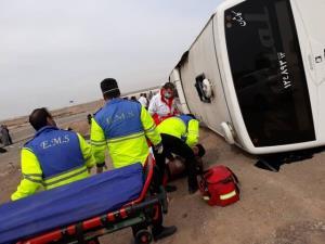 انحراف اتوبوس در محور کاشان-اردستان ۸ مصدوم به جا گذاشت