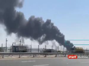 آتشسوزی گسترده در بندر جبل علی امارات