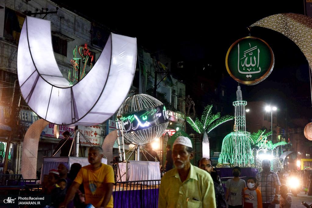 چراغانی خیابانهای حیدرآباد هند به مناسبت میلاد حضرت محمد(ص)