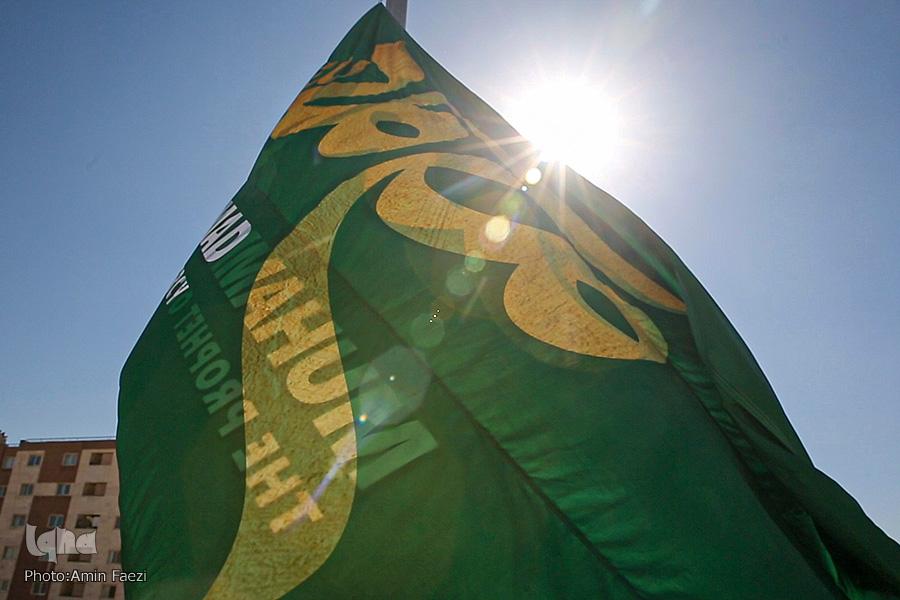 اهتزاز پرچم محمد(ص) در شیراز