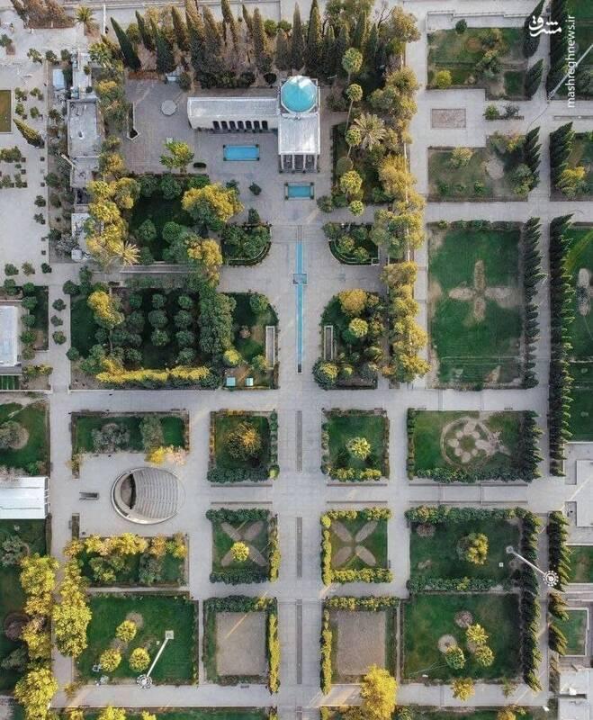 نمای هوایی زیبا از آرامگاه سعدی