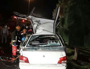 تصادف مرگبار پراید با تریلی در مشهد
