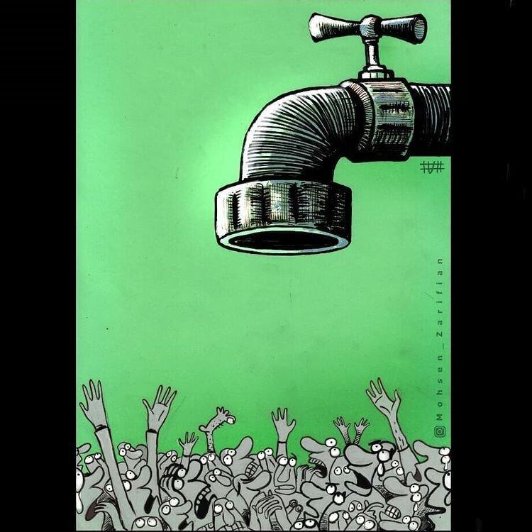 کاریکاتور/ مردم در صف اینترنت قطرهای!