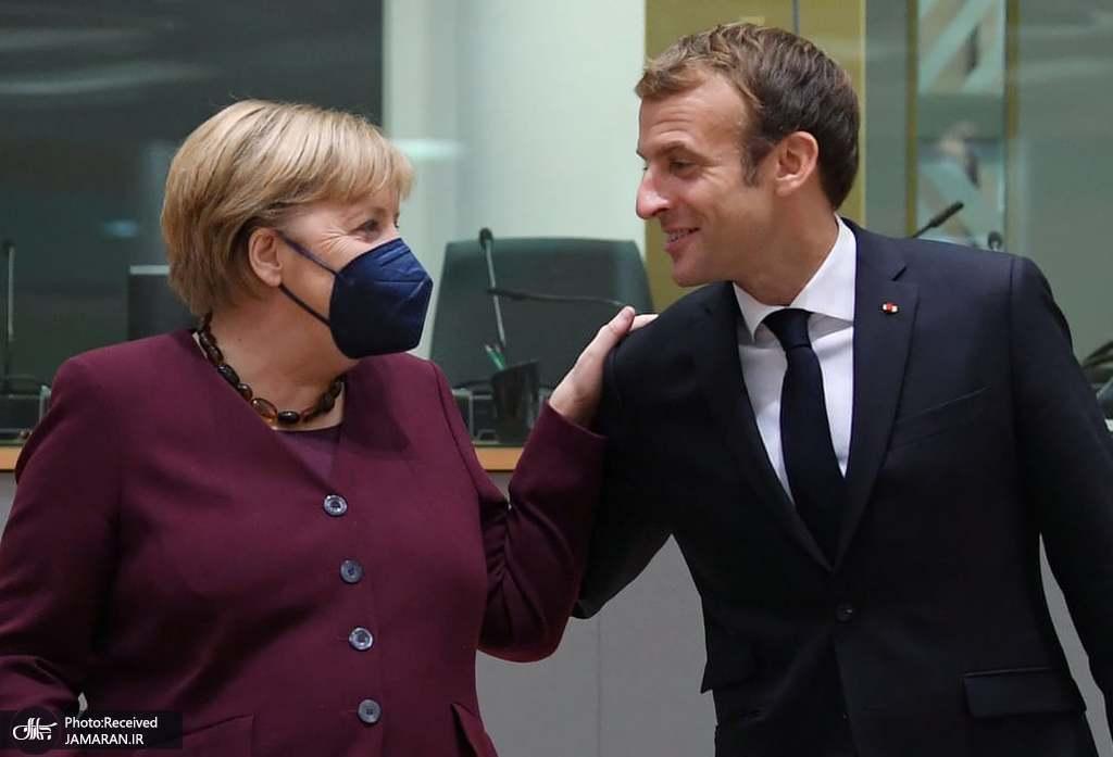 عکس/ ماسک نداشتن امانوئل مکرون هنگام گفتگو با مرکل