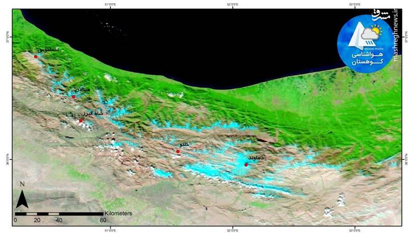 تصویر ماهوارهای از اولین برف پاییز در البرز